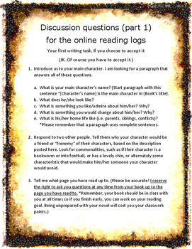 Discussion Questions for Online Reading Logs