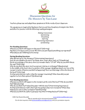 Discussion Questions for THE MONSTORE by Tara Lazar (Strategies that Work)