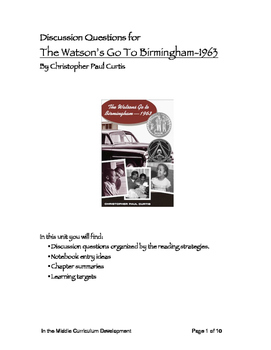 Discussion Questions for The Watson's Go To Birmingham-1963