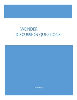Discussion Questions for Wonder