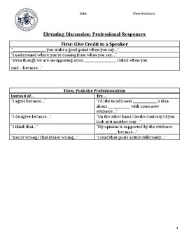 Discussion Sentence Frames to Increase Student Confidence