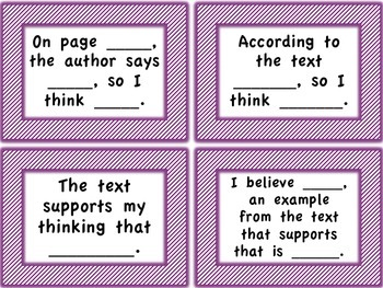 Discussion Sentence Stems Cards/Mini-Posters