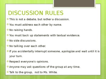 Discussion/Socratic Discussion Directions & Sentence Starters