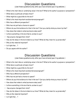 Discussion/Socratic Discussion Questions