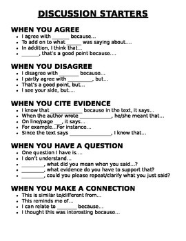 Discussion Starters Anchor Chart