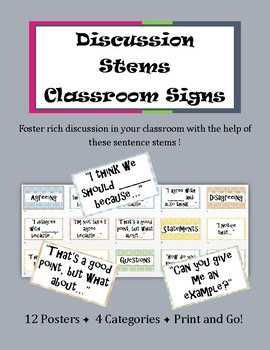Discussion Stems Signs || Ready to Print Classroom Posters