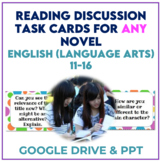 Reading Task Cards for ANY Novel to Promote Discussion *Di
