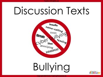 Discussion Texts - Bullying Unit of Work