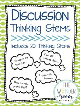 Discussion Thinking Stems - Talk Moves - Thinking Bubbles
