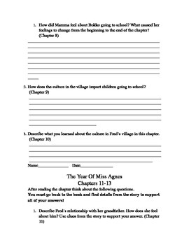 Discussion and Comprehension Questions: THE YEAR OF MISS AGNES