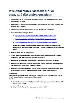 Film Discussion and essay questions - Fantastic Mr Fox