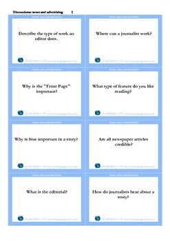 Discussion flashcards- news and advertising