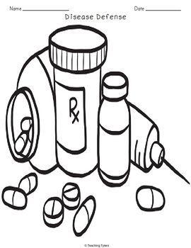 Disease Defenses Biology Science Crossword Coloring Worksheet Middle School