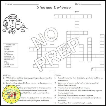 Disease Defenses Crossword Puzzle