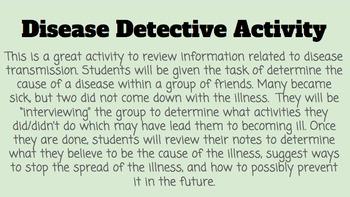 Disease Detective- Disease Transmission Activity (PowerPoint Activity)