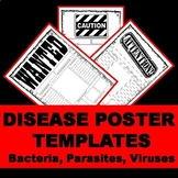 Disease Poster Bundle: Bacteria, Viruses, Parasites with Lists