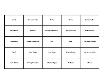 Disease Unit Bingo Game