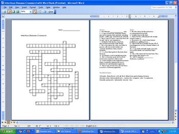 Diseases Crossword Puzzle, Bacteria and Viruses