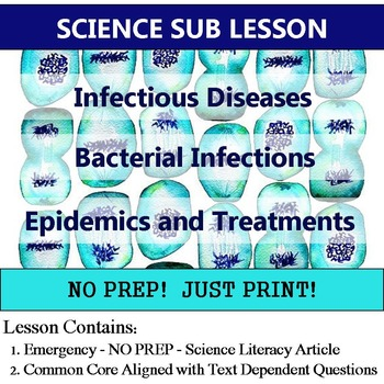Diseases Substitute Lesson Plan - Cells Homework or Enrichment Literacy Article