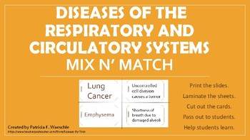 Diseases of the Respiratory and Circulatory systems Mix N' Match Cards