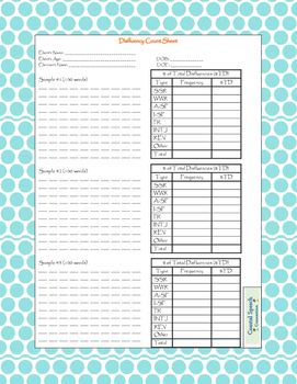 Disfluency Count Sheet