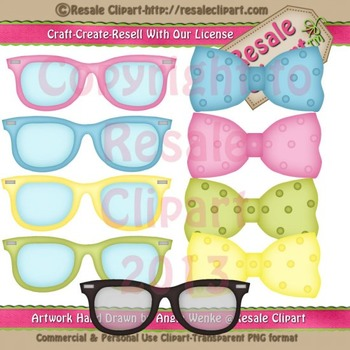Disguise Party 1 Sunglasses & Bow Ties ClipArt - CU