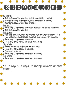 Disguise a Turkey Book Report