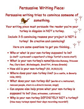 Disguise a Turkey Persuasive Writing Piece