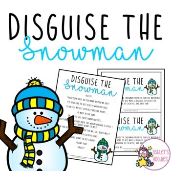 Disguise the Snowman Activity with Writing Assignment