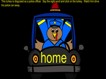 Disguised Police Sight Word Turkeys Smartboard
