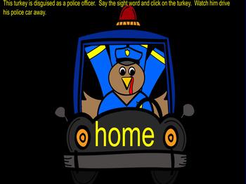 Disguised Police Sight Word Turkeys Smartboard