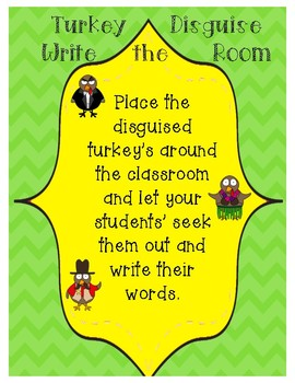 Write the Room-Disguised Turkey