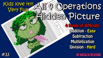 Disgust - Inside Out - Mystery Picture - 4 operations - Four level difficulty