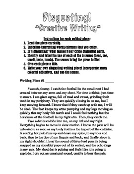 Disgusting Creative Writing Challenge for 7-12 graders - 5 Senses