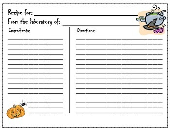 Halloween Writing ~ Disgusting Recipes