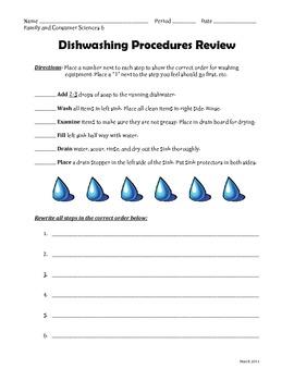 Dishwashing Procedures Review Sheet