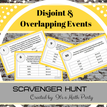 Disjoint & Overlapping Events - Scavenger Hunt Activity