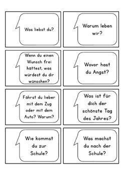 Diskussionskarten - Gesprächskarten - German communication starter cards