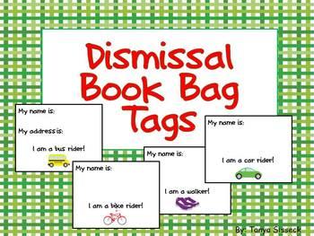 Dismissal Book Bag Tags