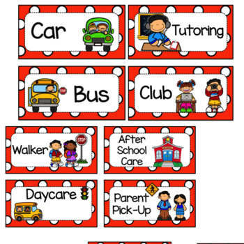 Dismissal Chart- Editable Red and White Polka Dots