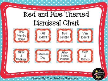 Dismissal Chart: Red and Blue Themed EDITABLE