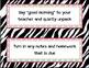 Dismissal Checklist & Morning Procedures Zebra Theme