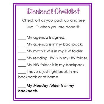 Dismissal Checklist *editable*