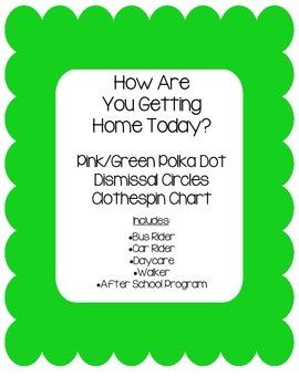 Dismissal Circle Clip Chart~Pink and Green Polka Dot Theme
