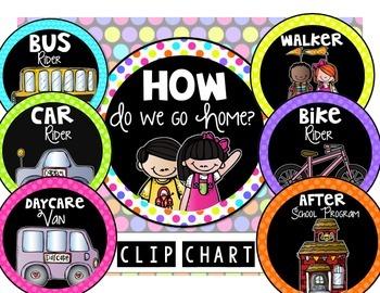 Dismissal Clip Chart {Bright Polka Dots)