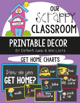 Dismissal: How We Go Home Chart and Bookbag Tags Chalkboard version