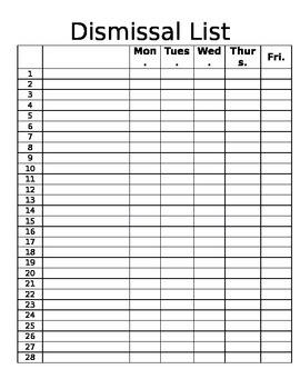 Dismissal List