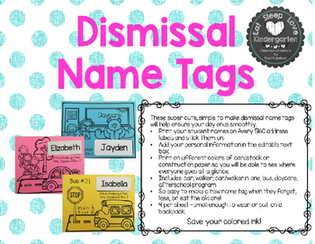 Dismissal Name Tags