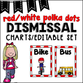 Editable Dismissal Chart ~ Red Polka Dots