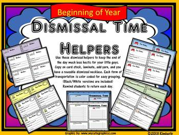 Dismissal Time Helpers (Includes: Reusable Student Backpack Tags/Necklaces)